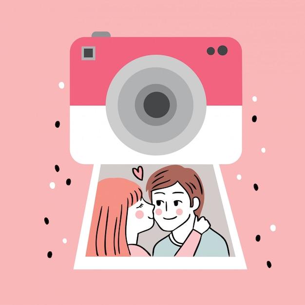 Cartoon schattig valentijnsdag camera en paar kussen in een foto vector. Premium Vector
