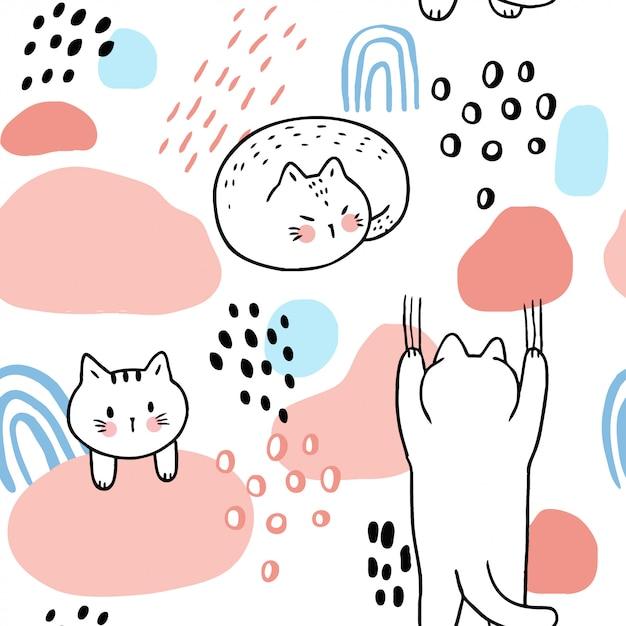 Cartoon schattig zoete katten naadloze patroon vector. Premium Vector