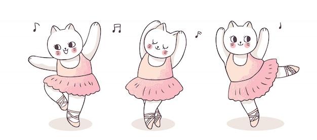 Cartoon schattige acties ballerina katten dansen Premium Vector