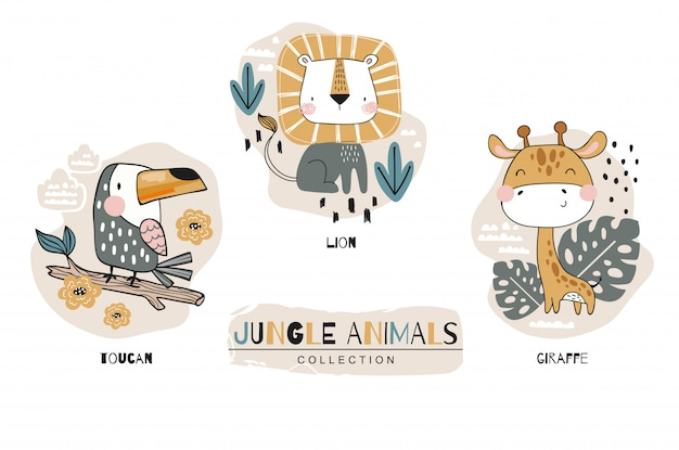 Cartoon schattige baby dieren karakters collectie. jungle set. pictogram hand getekend ontwerp illustratie Premium Vector