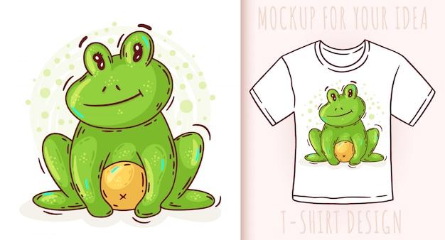 Cartoon schattige baby kikker t-shirt design Premium Vector