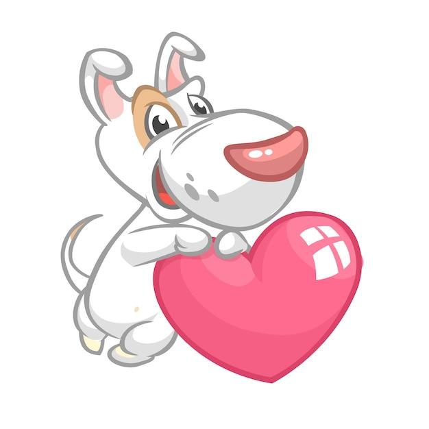Cartoon schattige bull-terier puppy houden een hart liefde. illustratie voor st valentijnsdag. Premium Vector