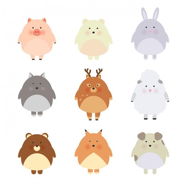 Cartoon schattige dieren voor babykaart en uitnodiging Premium Vector
