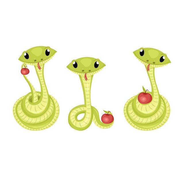 Cartoon schattige groene glimlach slang Premium Vector
