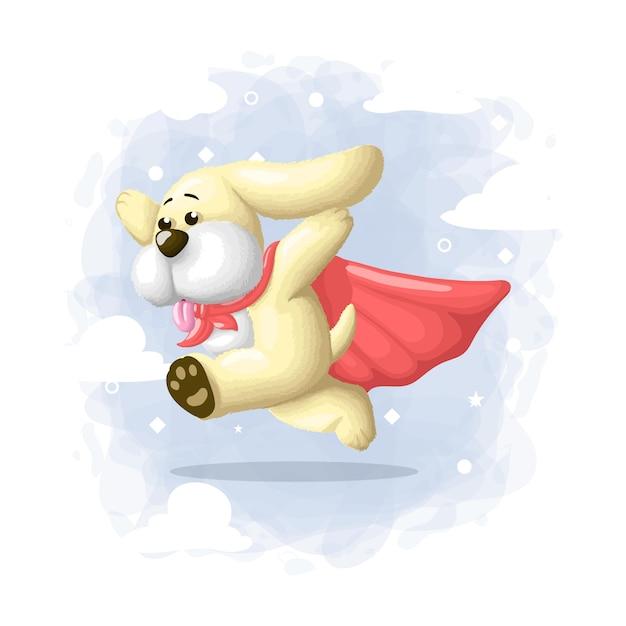 Cartoon schattige hond held illustratie Premium Vector