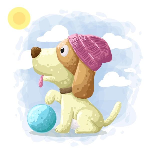 Cartoon schattige hond illustratie vector Premium Vector