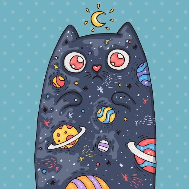 Cartoon schattige kat met het universum binnen. cartoon illustratie in komische trendy stijl. Premium Vector