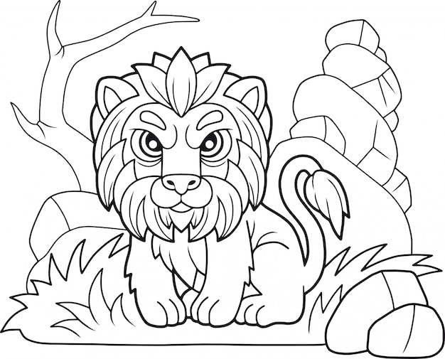 Cartoon schattige leeuw Premium Vector