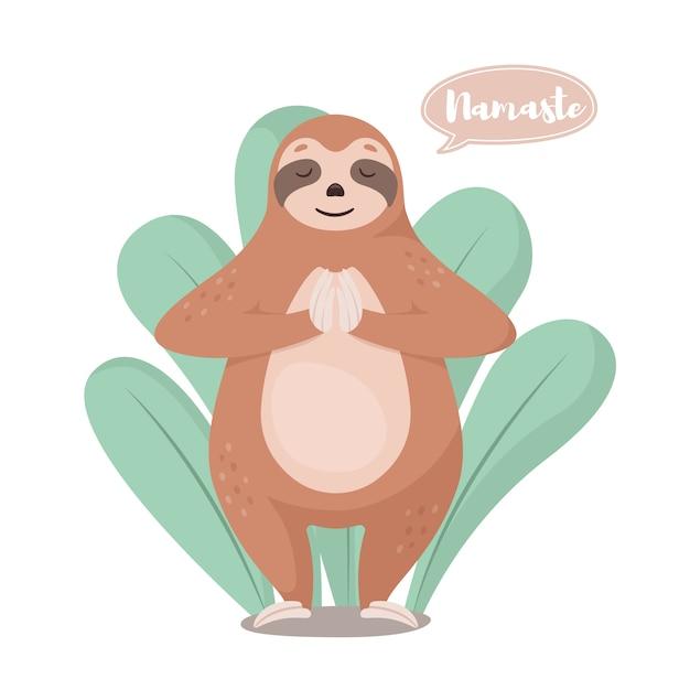 Cartoon schattige luiaard in groet pose namaste. Premium Vector