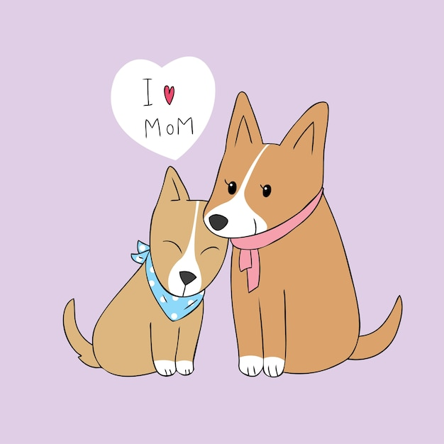 Cartoon schattige moeder en baby hond vector. Premium Vector