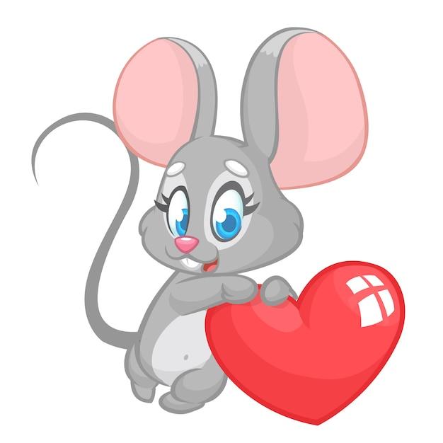 Cartoon schattige muis met een liefde hart. illustratie voor st valentijnsdag. Premium Vector