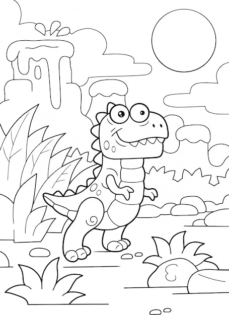 Cartoon schattige prehistorische dinosaurus tyrannosaurus kleurboek grappige illustratie Premium Vector