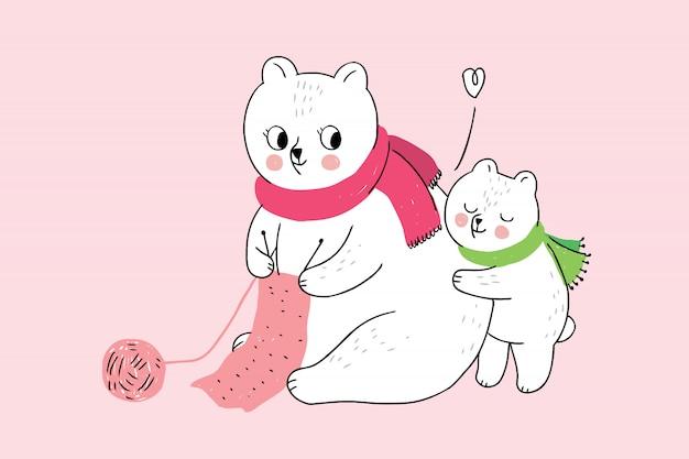 Cartoon schattige winter moeder en baby knuffelen Premium Vector