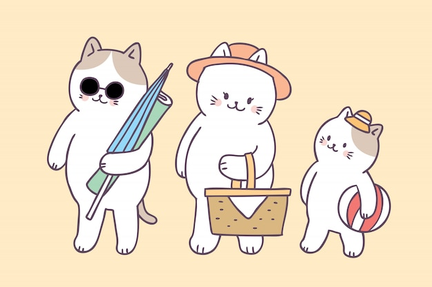 Cartoon schattige zomer familie katten picknick Premium Vector