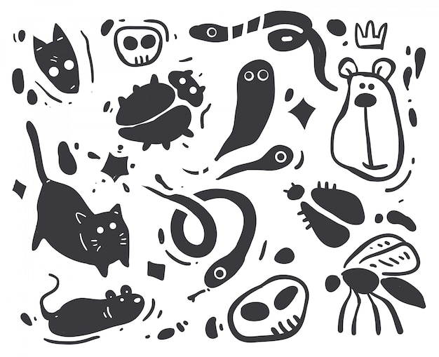 Cartoon schets dieren illustratie Premium Vector