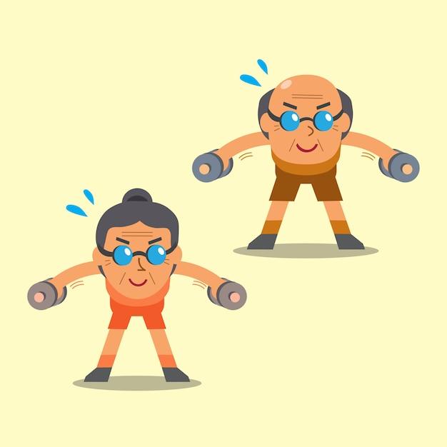 Cartoon senior man en vrouw doen halter gebogen over laterale verhogen oefening Premium Vector
