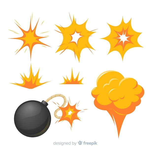 Cartoon set bomexplosie-effecten Gratis Vector