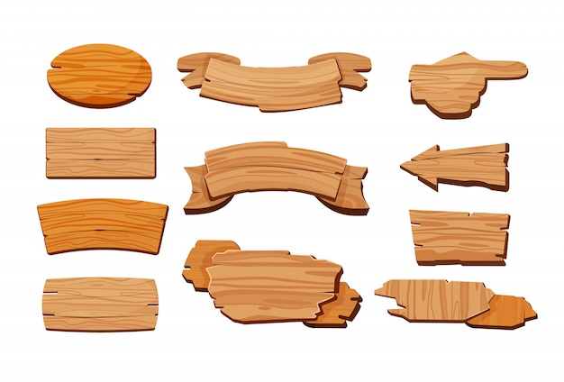 Cartoon set van houten borden Gratis Vector