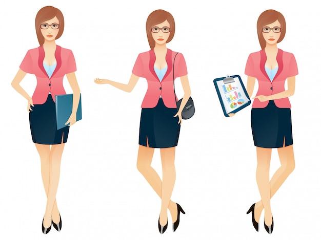 Cartoon sexy jonge zakenvrouw of secretaresse in verschillende poses Premium Vector