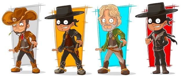 Cartoon sheriff en cowboy karakter Premium Vector