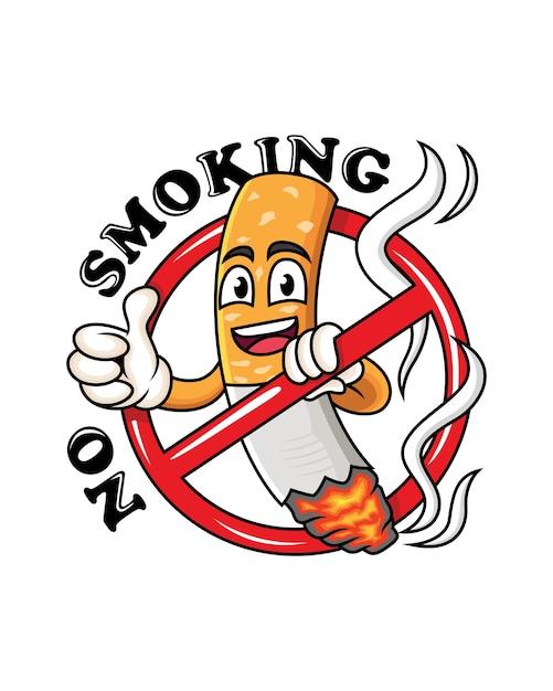 Cartoon sigaret mascotte met duim omhoog. niet roken cartoon symbool. Premium Vector