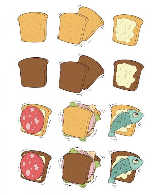 Cartoon smakelijke broodjes met worst en vis Premium Vector
