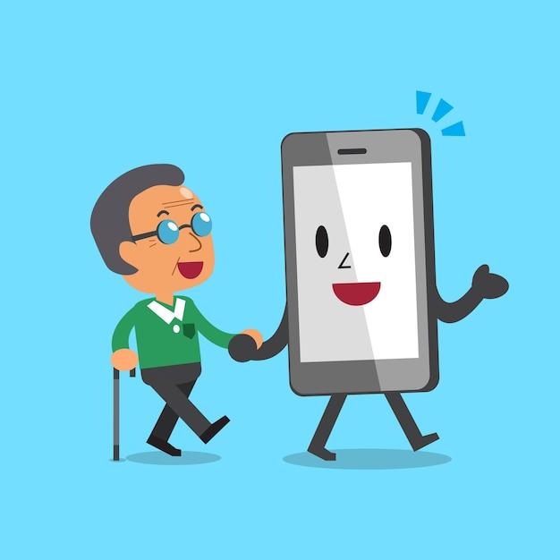 Cartoon smartphonekarakter die de oude mens helpen te lopen Premium Vector