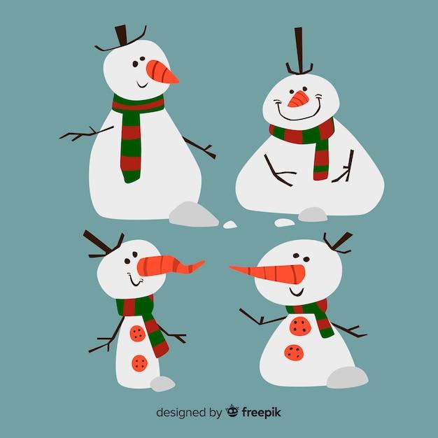 Cartoon sneeuwpop tekensverzameling Gratis Vector