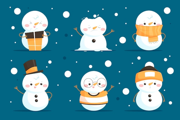 Cartoon sneeuwpop tekenverzameling Gratis Vector