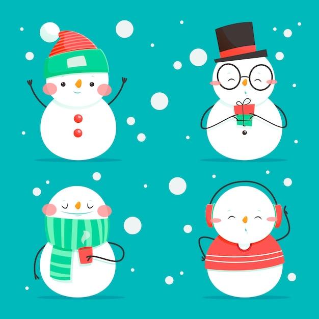 Cartoon sneeuwpop tekenverzameling Gratis Vector