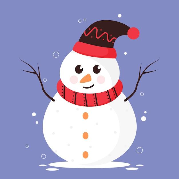 Cartoon sneeuwpop wollen muts en sjaal dragen op blauwe achtergrond. Premium Vector