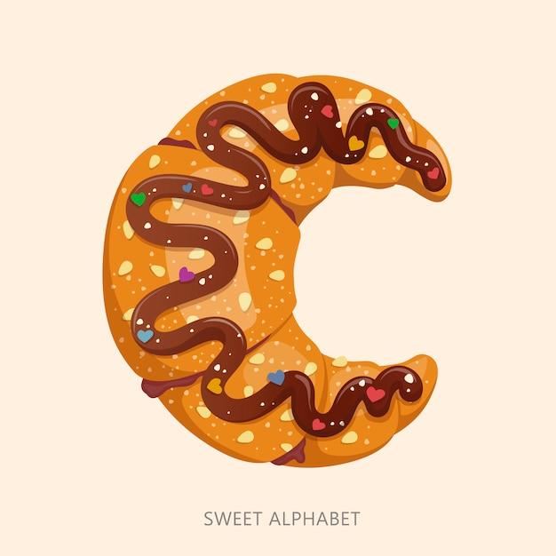 Cartoon snoep alfabet. letter c. Premium Vector