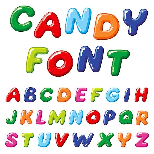 Cartoon snoep kinderen vector lettertype. regenboog grappige alfabet Premium Vector