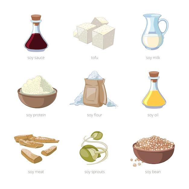 Cartoon soja voedsel vector set. gezonde voeding, sojazaad, tofu en melk, vegan biologische sojabonen set Gratis Vector