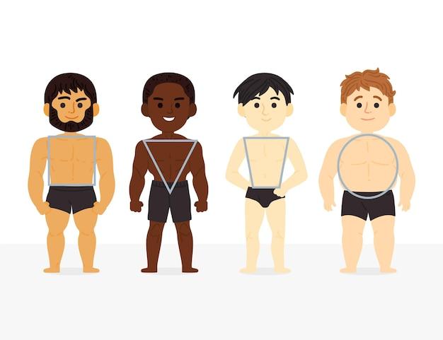 Cartoon soorten mannelijke lichaamsvormen Gratis Vector
