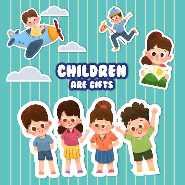Cartoon sticker met kinderdag conceptontwerp Gratis Vector
