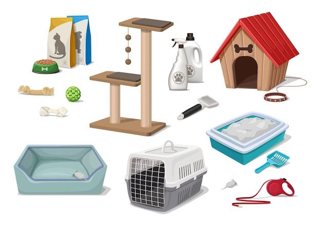 Cartoon stijl dierenwinkel supermarkt honden- en kattenbakvulling huis speelboom speelgoed verzorgingsgereedschap voedselpakket Gratis Vector