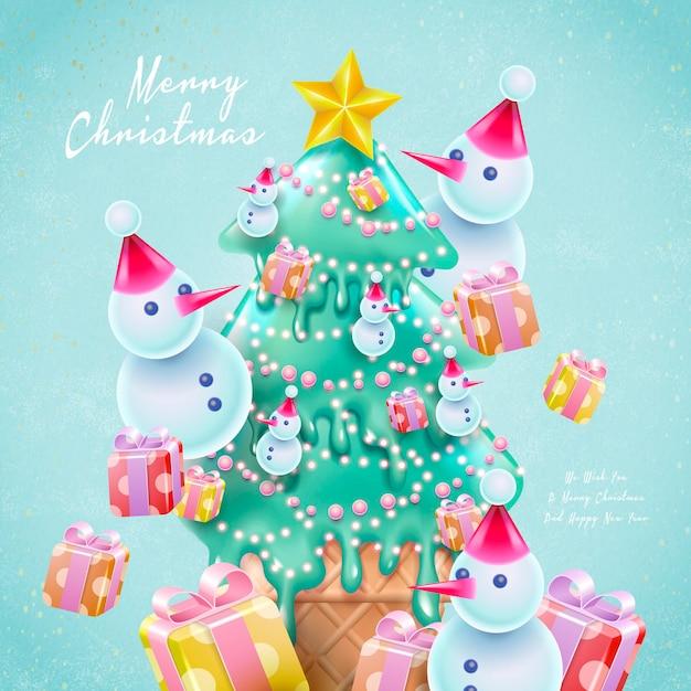 Cartoon stijl kerstkaart met kerstboomvormig ijs Premium Vector