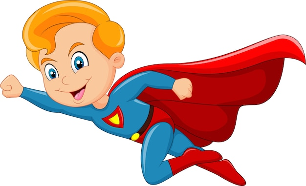 Cartoon superheld jongen geïsoleerd op een witte achtergrond Premium Vector