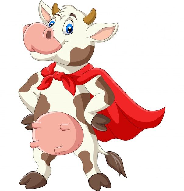 Cartoon superheld koe in rode cape poseren Premium Vector