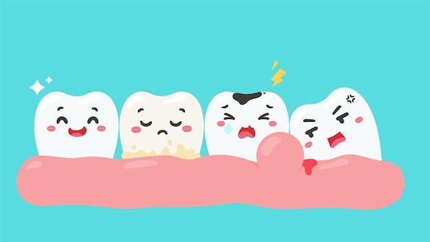 Cartoon tanden met gezichten laten verschillende soorten problemen met tanden zien. Premium Vector