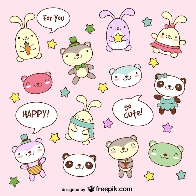 Cartoon teddybeer bunny dier foto's Gratis Vector