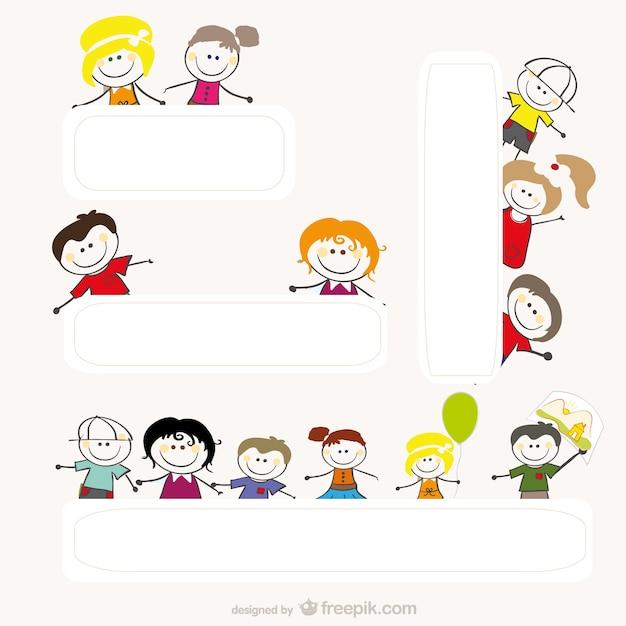 Cartoon tekeningen van kinderen vector Gratis Vector