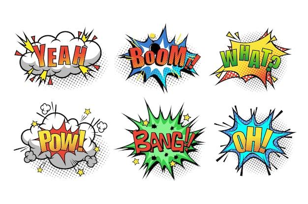 Cartoon tekstballon met zin boom, ja, wat, pow, bang, oh Premium Vector