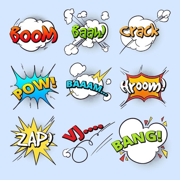 Cartoon-tekstballonnen, ontploffen knalgeluid met verzameling van komische tekstelementen. komische toespraak explosie bang tekst, illustratie van boom bubble toespraak Premium Vector