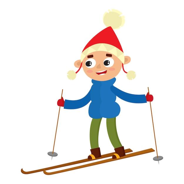 Cartoon tienerjongen met ski, cartoon illustratie geïsoleerd op een witte achtergrond. volledige hoogte portret van tiener op ski's, leuke winteractiviteit, buiten vrije tijd Premium Vector