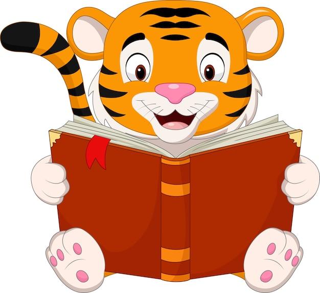 Cartoon tijger die een boek leest Premium Vector