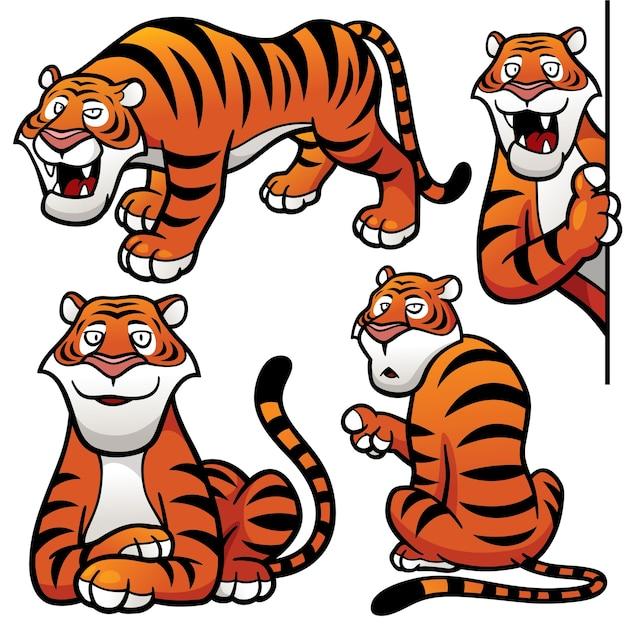 Cartoon tijger karakter Premium Vector