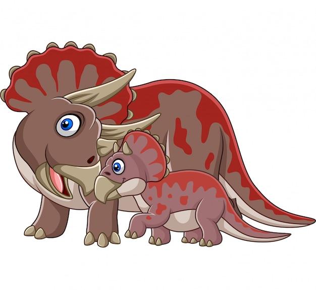 Cartoon triceratops met haar baby Premium Vector