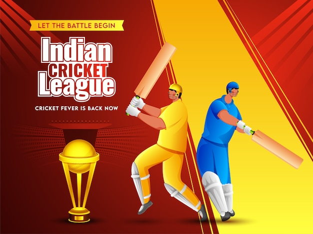 Cartoon twee batsman-speler in verschillende kleding met gouden trofee cup op rode en gele stadionweergave achtergrond voor indian cricket league. Premium Vector